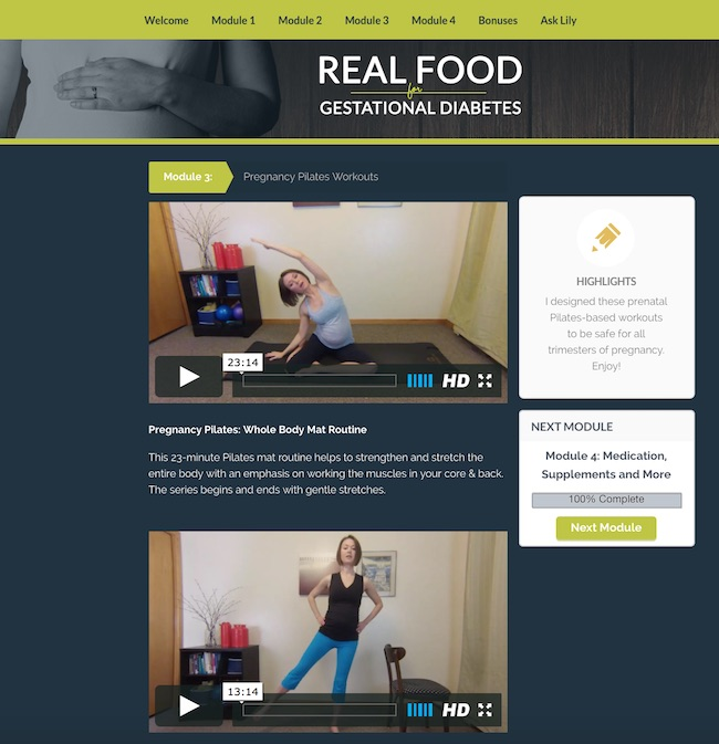 Real Food for Gestational Diabetes Course Exercise in Pregnancy and Pregnancy Pilates Videos